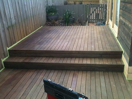 Preparing deck for first coat of oil