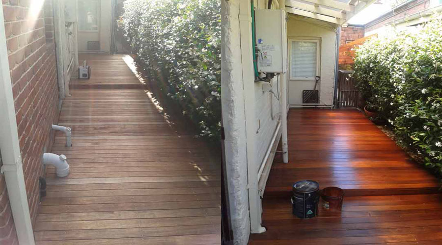 Ben 39 s backyard design and maintenance of gardens and for Garden decking before and after